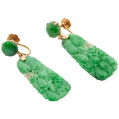 Art Deco 14 Karat Gold Carved Green Jadeite Dangle Earrings