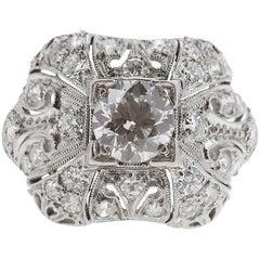 Art Deco 1920s Old European Cut Diamond Ring Set in Platinum