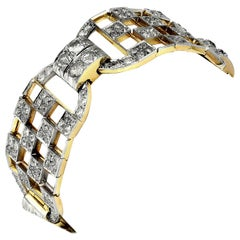 Art Deco 1920s Old European Cut Diamonds Wide Chequered Bracelet, France Origin