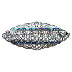 Art Deco 1920s Oval Diamond Sapphire Filigree Platinum Yellow Gold Brooch