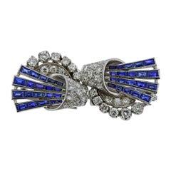 Art Deco 1920s Platinum Diamond Sapphire Brooch Clip Set