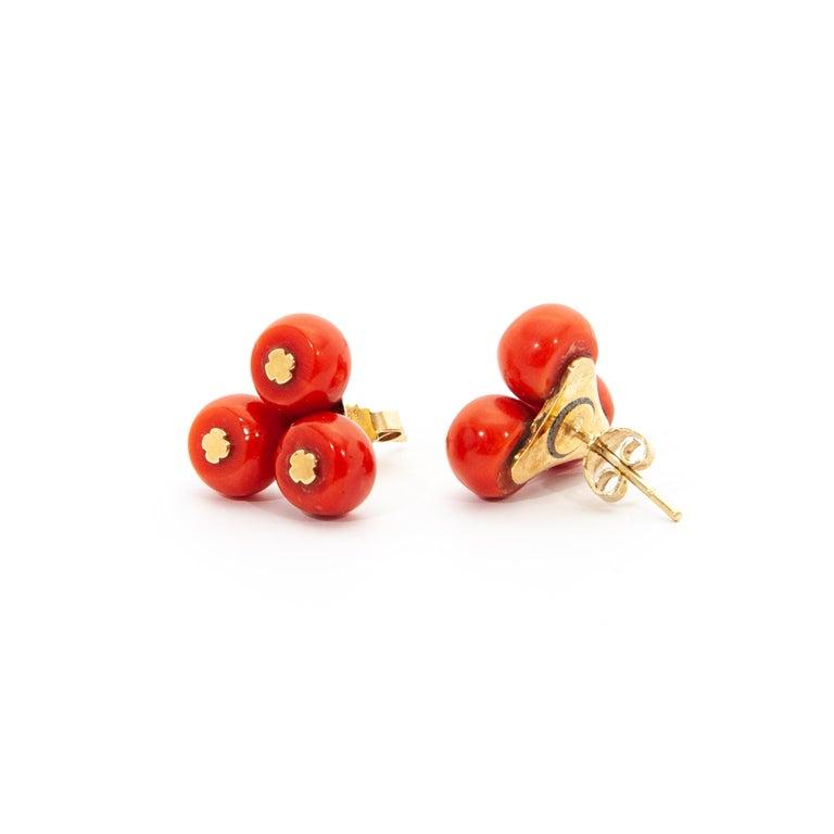 Vintage 14 Karat Gold Red Coral Jewelry Set For Sale 5
