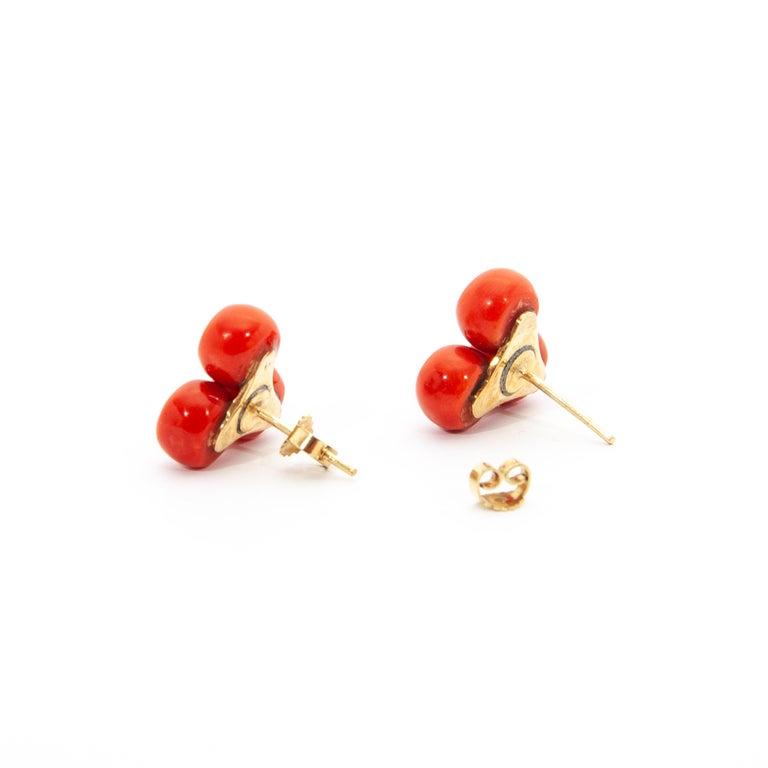 Vintage 14 Karat Gold Red Coral Jewelry Set For Sale 6
