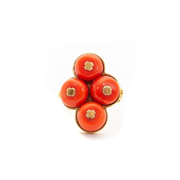 Art Deco Vintage 14 Karat Gold Red Coral Jewelry Set For Sale