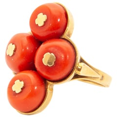 Art Deco 14 Karat Gold Coral Ring and Stud Earrings