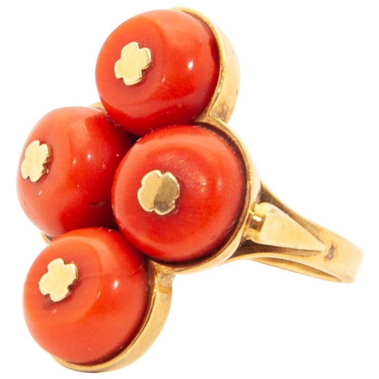 Vintage 14 Karat Gold Red Coral Jewelry Set For Sale