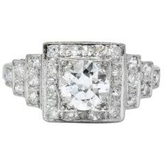 Art Deco 1930 1.22 Carat Diamond Platinum Engagement Ring GIA