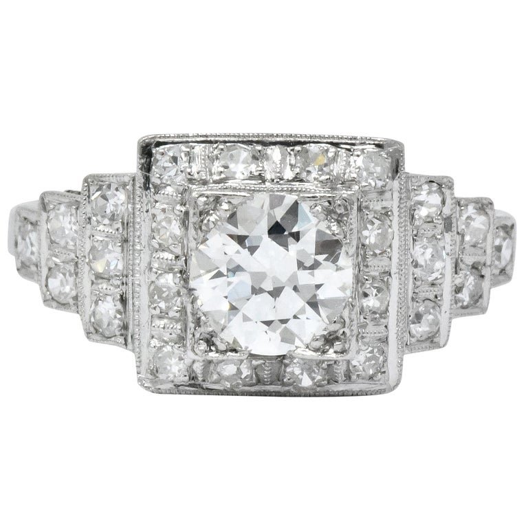 Art Deco 1930 1.22 Carat Diamond Platinum Engagement Ring GIA For Sale