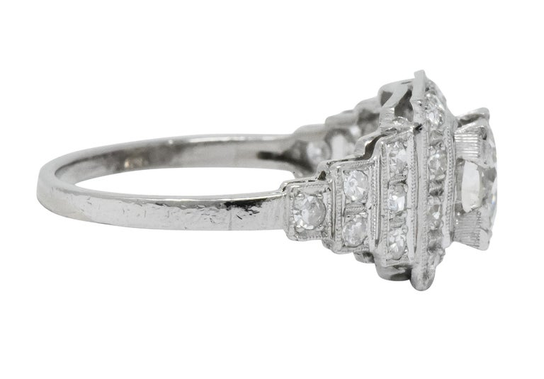 Art Deco 1930 1.22 Carat Diamond Platinum Engagement Ring GIA In Excellent Condition For Sale In Philadelphia, PA