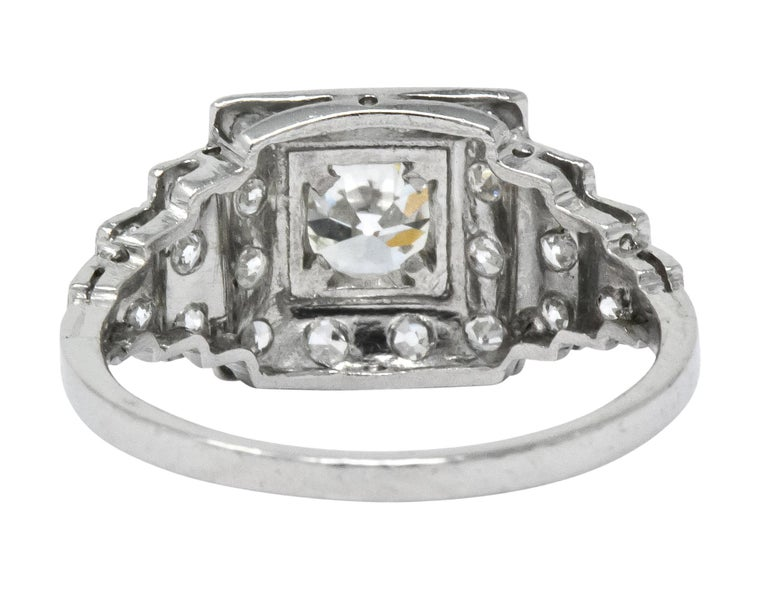 Women's or Men's Art Deco 1930 1.22 Carat Diamond Platinum Engagement Ring GIA For Sale