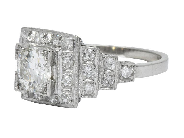 Art Deco 1930 1.22 Carat Diamond Platinum Engagement Ring GIA For Sale 2