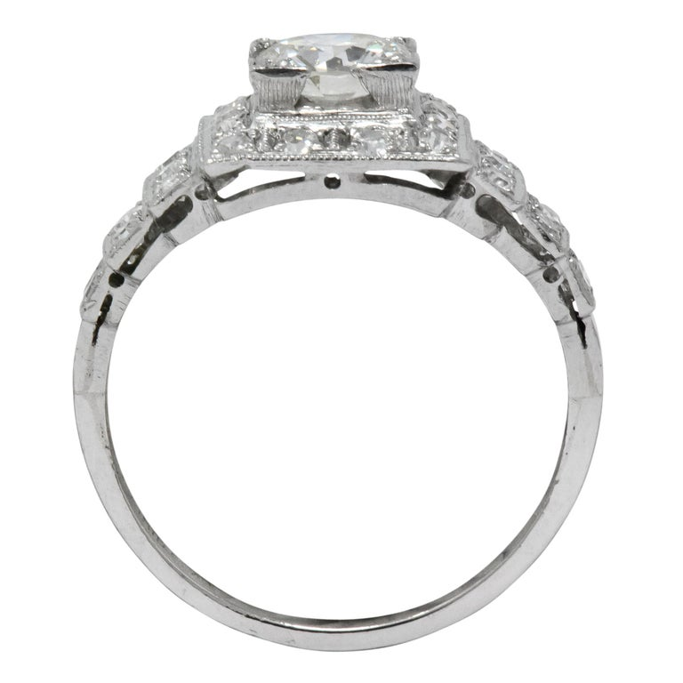 Art Deco 1930 1.22 Carat Diamond Platinum Engagement Ring GIA For Sale 3