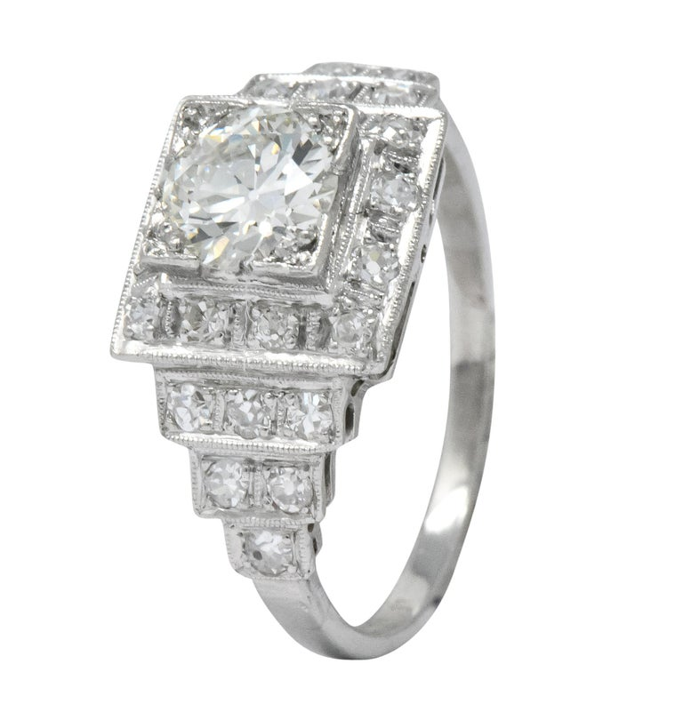 Art Deco 1930 1.22 Carat Diamond Platinum Engagement Ring GIA For Sale 4
