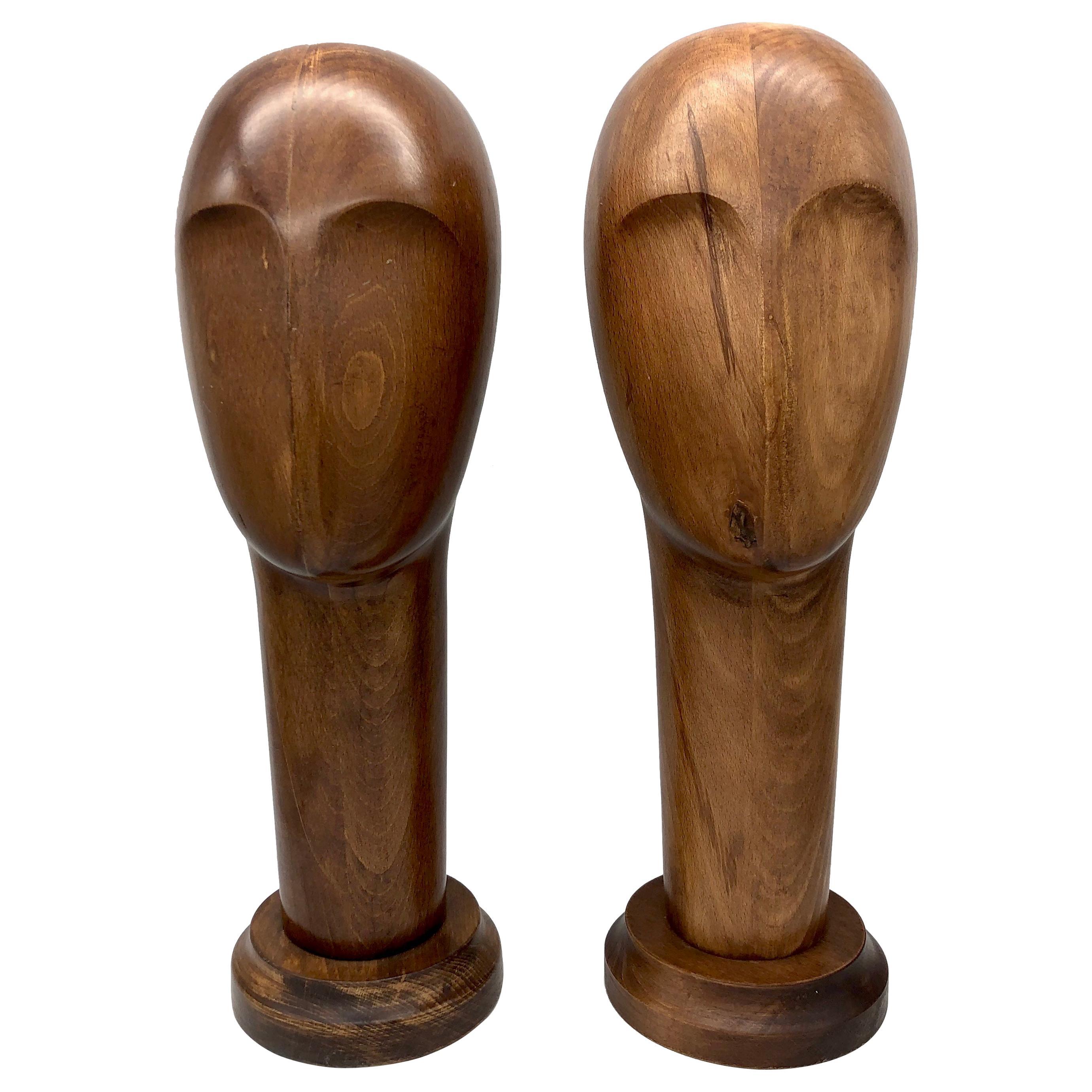 Art Deco 1930  Beech Wood Hat Stands Sculptures