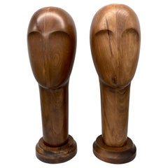 Art Deco 1930  Beech Wood Hat Stands Sculptures