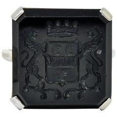Art Deco 1930 Onyx Intaglio 14 Karat White Gold Heraldry Ring