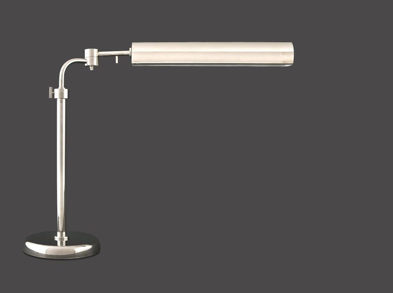 Adjustable in height, swiveling, turnable head  also available with a smaller shade.  All components according to the UL regulations, with an additional charge we will UL-list and label our fixtures.