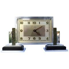 Art Deco 1930s 8 Day Mantle Clock, Chrome and Bakelite