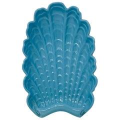 Art Deco 1930s Abingdon Ceramic Shell Tray Pastel Blue