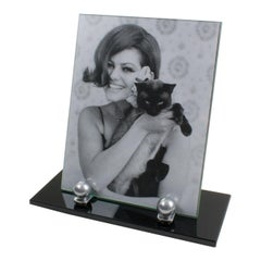 Art Deco 1930s Black Opaline Glass and Aluminum Picture Frame
