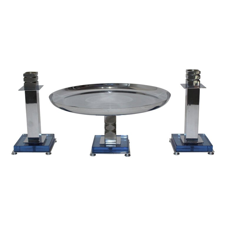 Art Deco 1930sblue glass and chrome Farber Garniture set - Compote and 2 candlesticks - set of 3 from a Palm Beach Estate. An early design by what was to become an iconic Art Deco brand, and a beautiful example -- note the exquisite beaded edge of