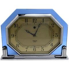 Art Deco 1930s Blue Glass Clock by Smiths