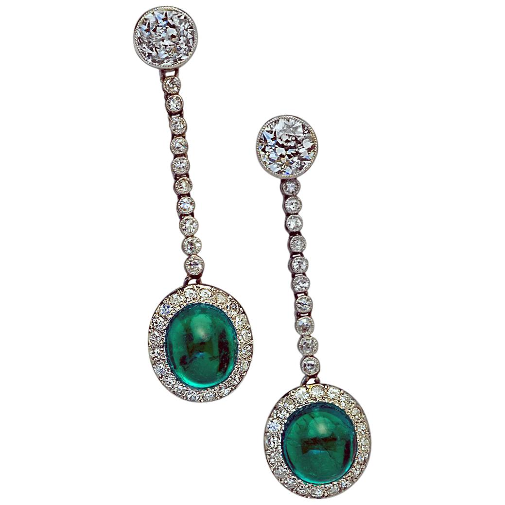Art Deco 1930s Cabochon Emerald Diamond Platinum Earrings