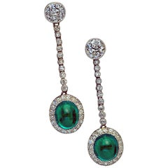 Art Deco 1930s Cabochon Emerald Diamond Platinum Earrings