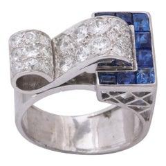 Art Deco 1930s Calibre Cut Sapphire Diamond Platinum Buckle Ring