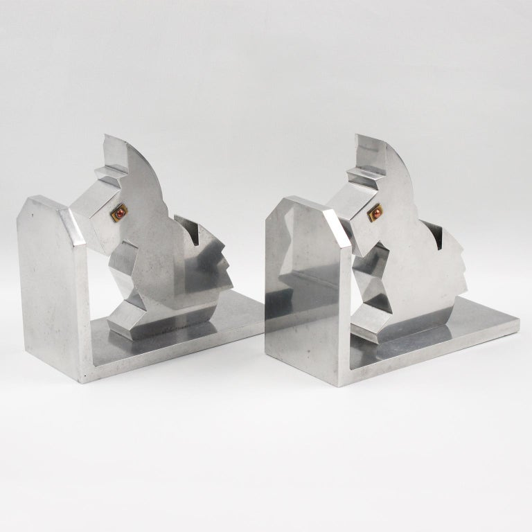 Art Deco 1930s Metal Cubist Scottie Dog Bookends In Good Condition For Sale In Atlanta, GA