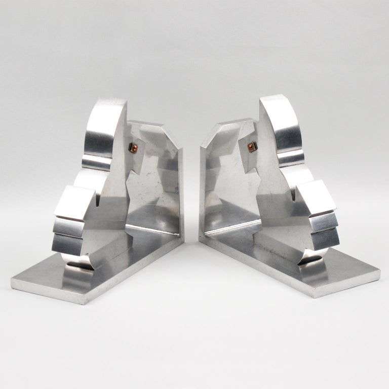 Mid-20th Century Art Deco 1930s Metal Cubist Scottie Dog Bookends For Sale