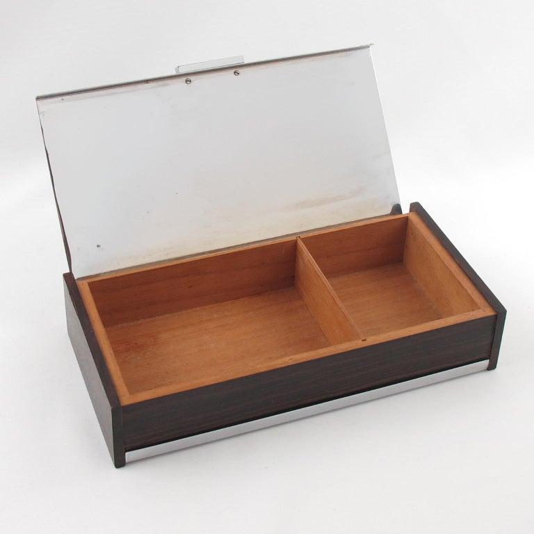 French Art Deco 1930s Chrome Macassar Wood Box For Sale
