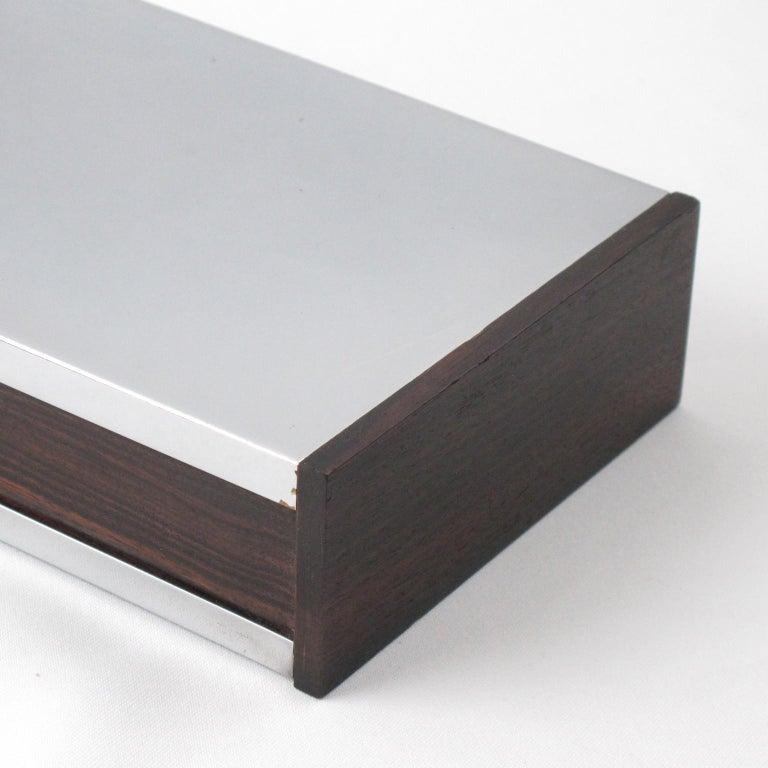 Art Deco 1930s Chrome Macassar Wood Box In Good Condition For Sale In Atlanta, GA