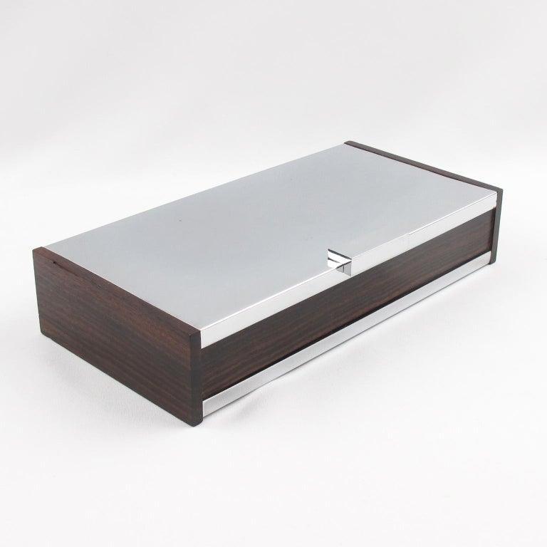 Metal Art Deco 1930s Chrome Macassar Wood Box For Sale