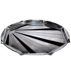Art Deco 1930s Chrome 'Sunray' Drinks Tray