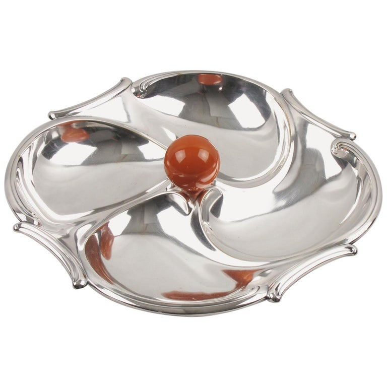 Art Deco 1930s Cocktail Set Silver Plate Bakelite Barware Tray For Sale