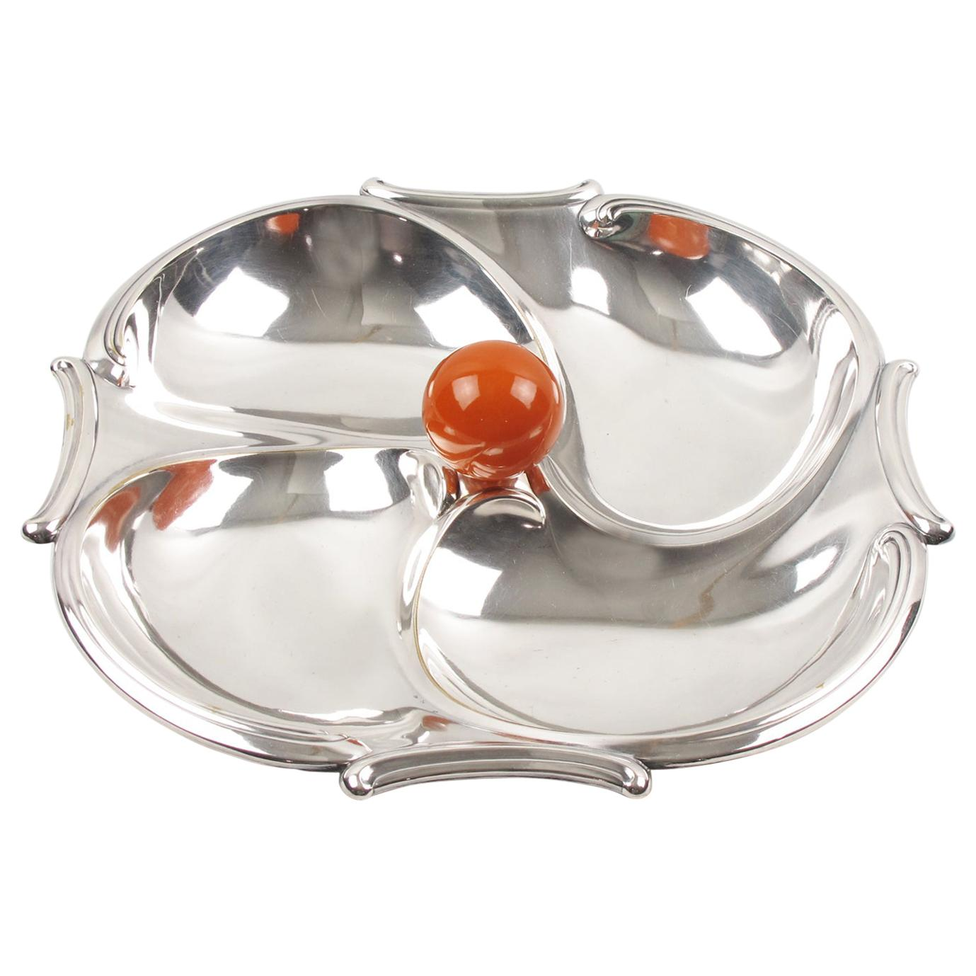 Art Deco 1930s Cocktail Silver Plate Bakelite Barware Tray Set