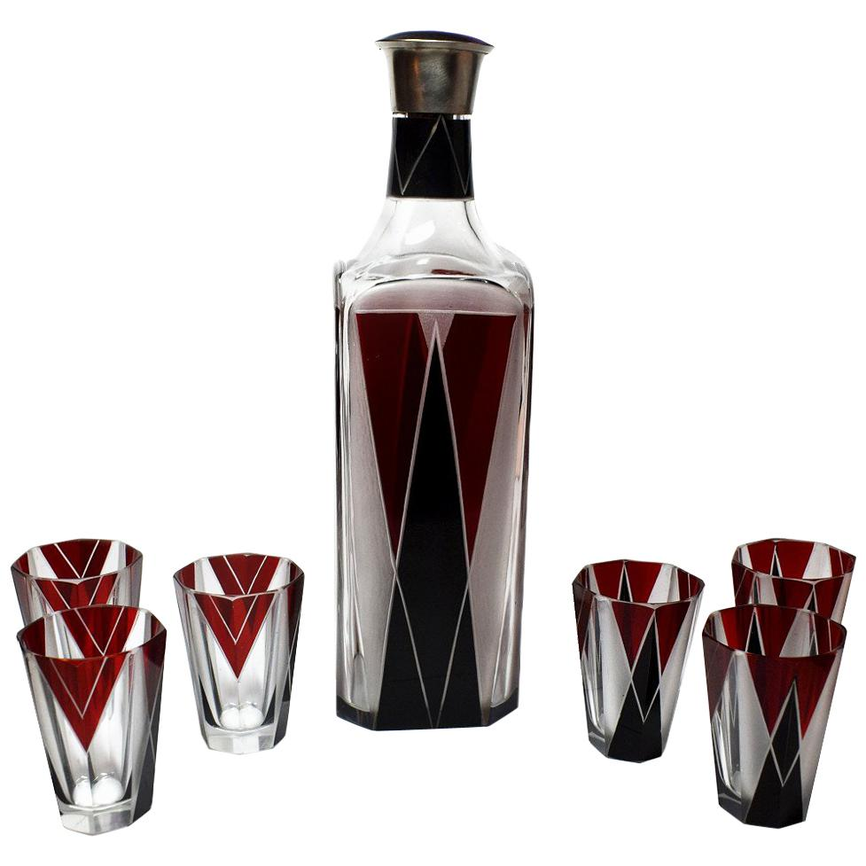 Art Deco 1930s Czech Decanter Set