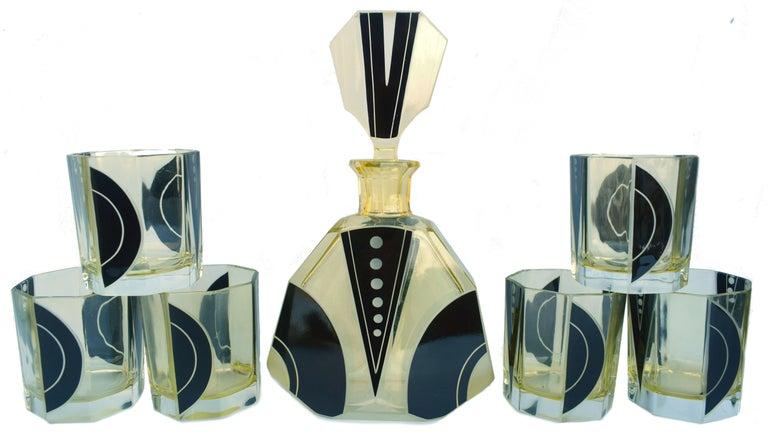 Art Deco 1930s Czech Geometric Glass Decanter Set For Sale 6