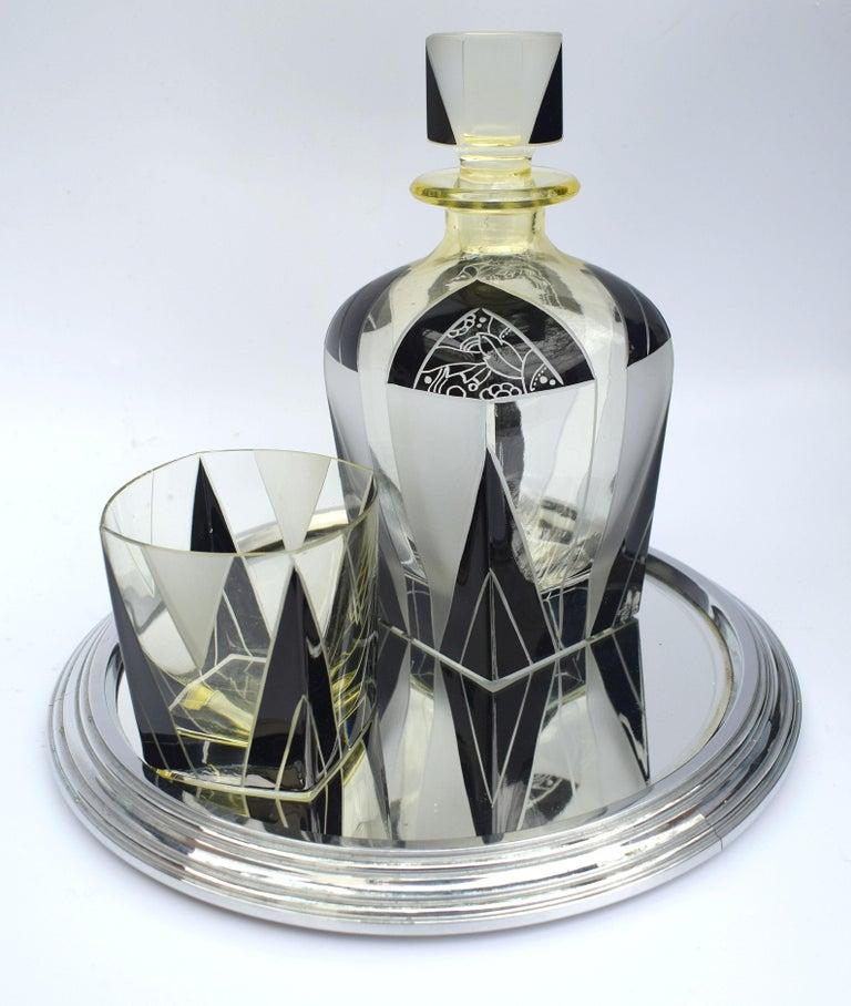 Art Deco 1930s Czech Geometric Glass Decanter Set For Sale 1