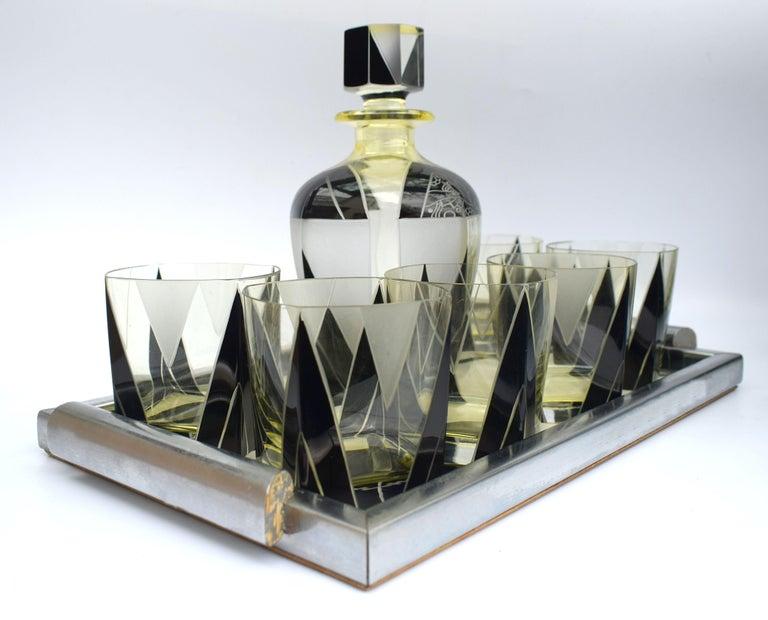 Art Deco 1930s Czech Geometric Glass Decanter Set For Sale 2
