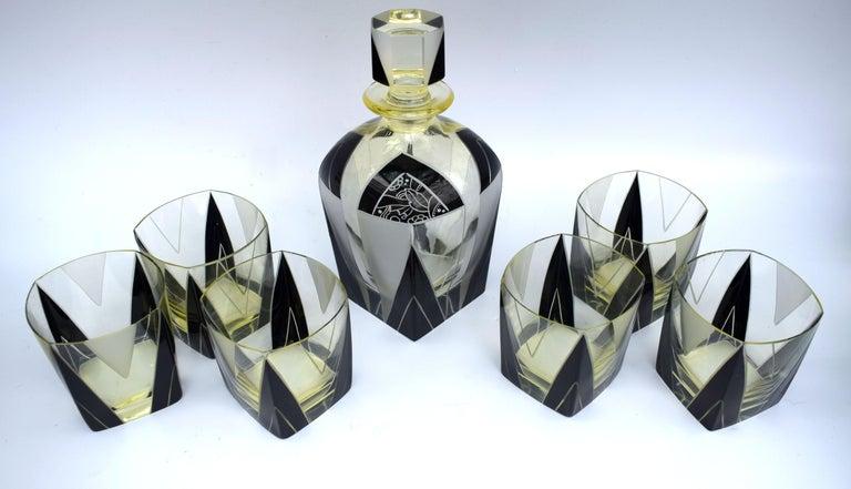 Art Deco 1930s Czech Geometric Glass Decanter Set For Sale 3