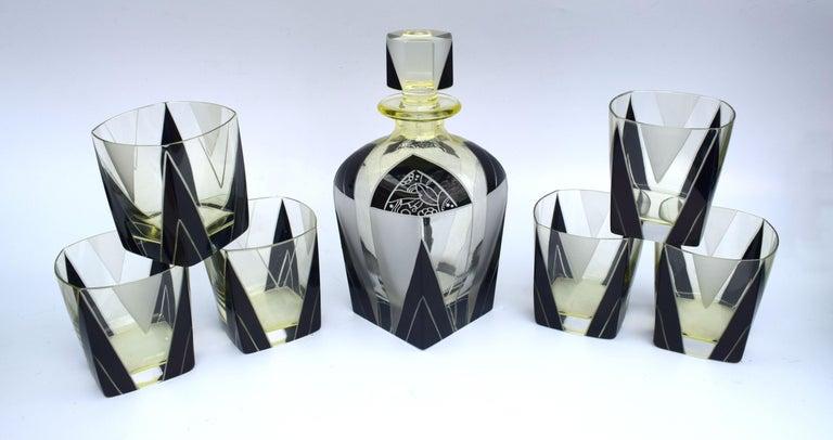 Art Deco 1930s Czech Geometric Glass Decanter Set For Sale 5