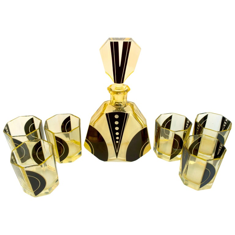 Art Deco 1930s Czech Geometric Glass Decanter Set For Sale