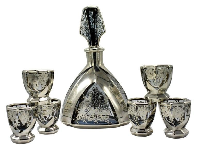 Art Deco 1930s Czech Glass Decanter Set For Sale 6