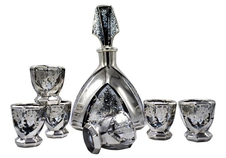 Enameled Art Deco 1930s Czech Glass Decanter Set For Sale