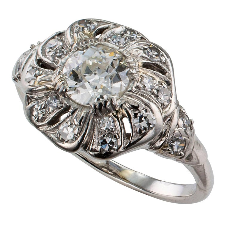 Old European Cut Art Deco 1930s Diamond Platinum Engagement Ring For Sale