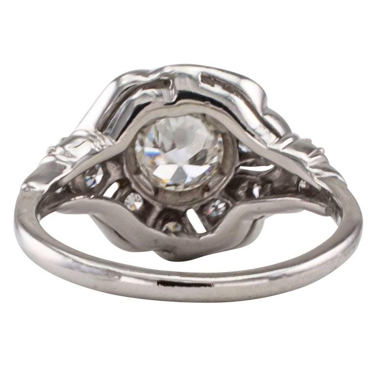 Women's Art Deco 1930s Diamond Platinum Engagement Ring For Sale