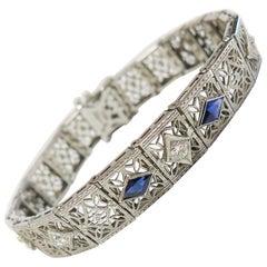 Art Deco 1930s Filigree Bracelet with Diamonds / Sapphires / 14 Karat White Gold