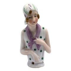 Art Deco 1930s Flapper Girl Half Pin Cushion Doll by Fasold & Stauch